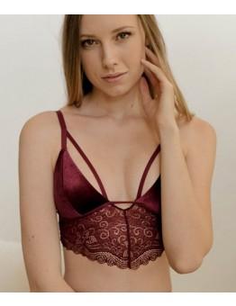 Velvet Longline Lace Bralette
